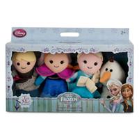 Wholesale EMS Frozen Finger Puppet Set of Four Stuffed Toys Finger toy Olaf Kristoff Anna Else Plush dolls set of