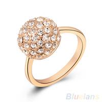 Wholesale Women s Austrian Crystal K Rose Gold Plated Rhinestone Ball Wedding Ring RB