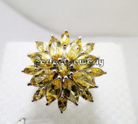 Cheap Citrine ring Natural citrine ring 925 sterling silver plated 18k white gold Perfect jewelry DH#14091308