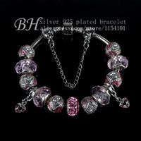 Cheap Wholesale-Free Shipping European Style 925 Silver Charm Bracelet Women with Pink Lampwork Glass Beads Fashion Jewelry PB30