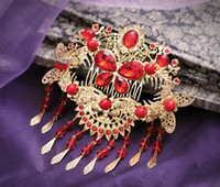 Cheap Free Shipping! Wholesale Chinese Red Tassel Wedding Hair Accessories Bridal Hair Jewelry comb Style