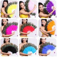 venda por atacado peacock feather fan-venda imperdível! Hot! New Belly Dance Fan pena do pavão 11 cor u NOVO Escolha