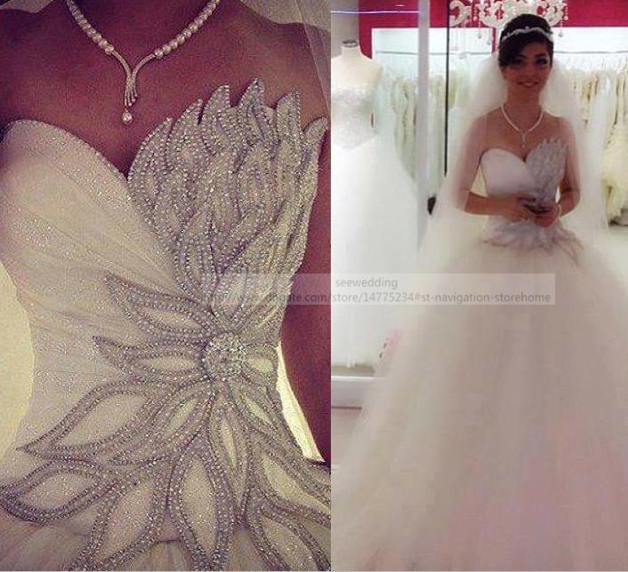 Custom Bling Bling Ball Gown Wedding Dresses Asymmetrical Crystal ...