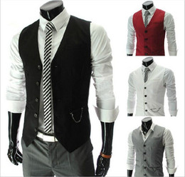 Wholesale 2014 New Arrival Men Suit Vest Slim Dress Vests Men s Fitted Leisure Waistcoat Casual Business Jacket Tops Three Buttons top sale free ship