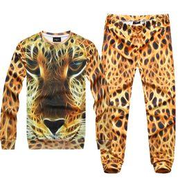 Wholesale New Autumn Winter Women Men Animal Pullovers Sweatshirts Chips Hamburger Leopard D Sweaters Set Hoodies Top and Pant Suit