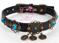 antique dog collar - PU leather dog collars Antique Bronze pet collars Cat Necklace Christmas pet supplie retail