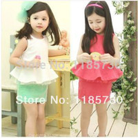 Wholesale Factory Direct Summer New Children Vest Skirt Suit British Lunfan Girl Baby princess T shirt skirt suit
