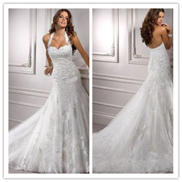 Wholesale 2015 Hater Sexy Mermaid Wedding Dresses Sweetheart Tulle Lace Appliqued Beaded Elegant Chapel Train Draped Bridal Gown