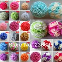 rose balls wedding - 28colors cm inch Wedding Decorations Silk Kissing Pomander rose Flowers Balls Wedding bouquet