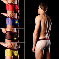 Cheap 5pcs mens boxer shorts underwear for man see through sexy fasion free shipping pouch discount sheer gay wear home 2014 new