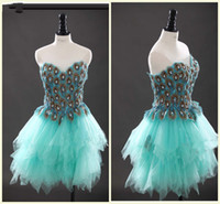 Cheap 2014 Unique Peacock Homecoming Dresses Sweetheart Zipper Mini Sleeveless 2014 Short Prom Dresses Celebrity Evening Gowns Photo Color