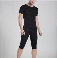 Cheap 1 set mens pajamas underwear sexy fastoin sleepwear see through Manview yoga pants underwear tshirt shirts sheer shorts man gay