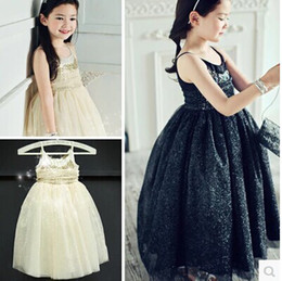 Wholesale 2014 Newest style Black Sequins Children s Dresses Spaghetti Strap Sugar Teens Girl s Pageant Dresses Formal Baby Kid Flower Girl Ball Gowns