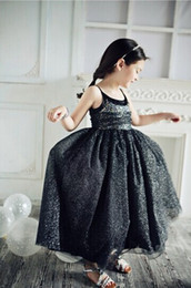 Wholesale HOT SALE Black Sequins Children s Dresses Spaghetti Strap Sugar Teens Girl s Pageant Dresses Formal Baby Kid Flower Girl Ball Gowns New