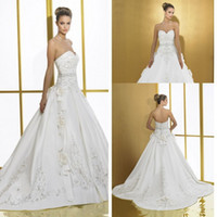 Wholesale Exquisite Ball Gown Wedding Dresses For Bride with Hand Made Flowers Embroidery Beads Sweetheart Satin Court Train Bridal Gowns CGL612