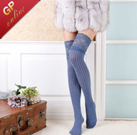 Wholesale 4018 Full Cotton Thigh Socks Women Lace Stockings for Thing High Socks