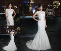 Wholesale 2014 Elegant Lace Wedding Dresses Sweetheart Neck Fit And Flare Bridal Gown Back Zipper Skirt With Jacket High Quality