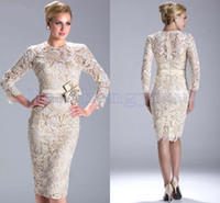 Wholesale 2014 New Knee Length Evening Dresses Sexy Bateau Beaded Lace Long Sleeves Formal Evening Prom Dress Gown