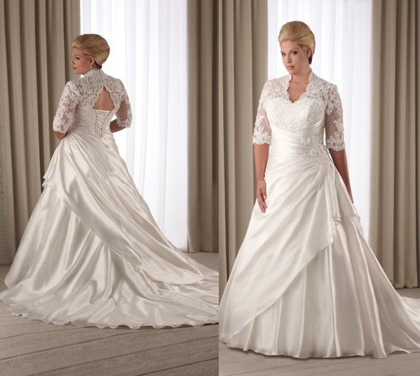 Plus Size Wedding Dresses With Long Lace Sleeves 92