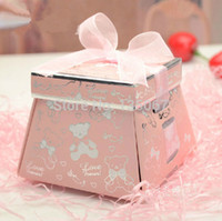 Cheap 2014 New 50pcs bowknot treasure chest Wedding Favors Paper Candy Boxes birthday Gift baby candy box Free Shipping