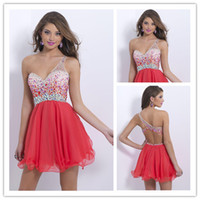Top Charming!!!2015 One- Shoulder Homecoming Dresses Short Mi...