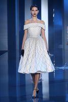 Роскошные Портрет-линии тафта бисером рукавов длиной до колен Пром платья сшитое 2015 Elie Saab Runway знаменитости платье для коктейля