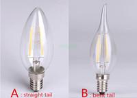 Wholesale 2014 New Arrival degree W E12 E14 led Filament Candle light bulbs Ra gt Incandescent Shape dimmable led filament candle lamps