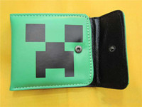 Wholesale Free DHL Bulk Creeper Wallet PU Leather Purse Card Changes Bags for Minecraft Unisex Green Cartoon Wallets Children Kids Gift Presents