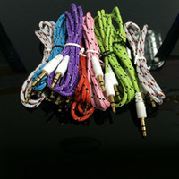 Wholesale 3 mm Audio AUX Car Extention Cable Braided Woven wire Auxiliary Stereo Jack Male m ft Lead for Samsung HTC Speaker