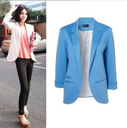 Wholesale 4 Hot Womens Fashion Candy Color Seventh Volume Sleeve Jacket Blazer Colors
