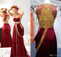 Cheap 2014 Sexy Evening Dresses Sweetheart Chiffon Burgundy Prom Dresses Runway Gold Embroidery Crystals Arabic Pageant Celebrity Dresses WJ091332