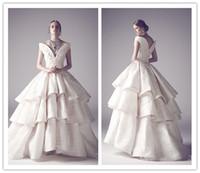 Cheap 2014 Ashi Arabic Crystals Pearls Ruffles Lace Backless Cap Sleeves vestidos de fiesta Wedding Dress Bridal Gown Custom Made