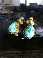 Cheap bronze earrings Best rare turquoise