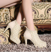 Cheap 2014 Hot Charming High Heel Ivory Lace Ankle Boots Women Lady Elegant Lace Wedding Bridal Shoes New