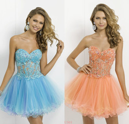 Wholesale 2014 Light Blue Homecoming Dresses Short Blush Sexy A Line Sweetheart Sheer Corset Applique Beaded Tulle Cocktail Prom Gowns DL1313502