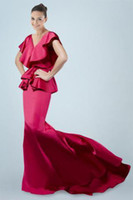 Cheap 2014 New Arrival Mermaid Evening Dress V Ruffle Neck Waist Peplum Sexy Open Back Sweep Train Wedding Events Special Occasion