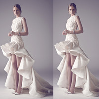 Cheap 2014 Gorgeous Embroider Hi low Satin Evening Dresses Peplum Ruffled Skirt Long Train Custom Made DHyz 02