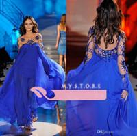 Cheap 2014 Custom Royal Blue Evening Gowns Scoop Chiffon Sheer Long Sleeve Zuhair Murad Formal Evening Dresses Backless Party Prom Dress WJ091333