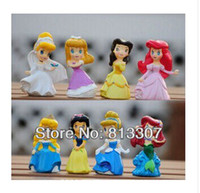 belle set - High Quality Cute Princess Ariel Cinderella Snow white Belle Cartoon Figure Toy doll Set of