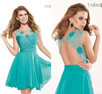 Cheap 2014 NEW Backless Graduation Dresses Sexy Cheap Illusion Crew Neck Lace Chiffon Hand Made Flowers Short Cocktail Prom Dresses L285