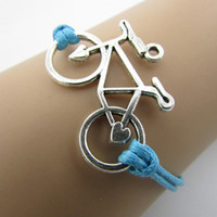 bicycle joker - B092 Retro joker bicycle bracelet with leather cord bracelet B1