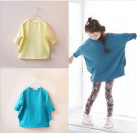 Wholesale Autumn Korean Girls Long Sleeve T Shirts Cotton Batwing Pullover Lengthen Base Shirt Dress Girl Kids Child Clothes Yellow Blue K1262