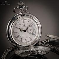 Cheap KS Silver Roman Numerals Skeleton Alloy Case Japan Movement Quartz Analog Male Clock Necklace Steampunk Men Pocket Watch KSP051