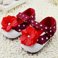 Big feet - Autumn Baby Girl Flower Shoes Wave Point Big Flower Toddler First Walker Shoes Infant Foot Wear Blue And Red pair WD202