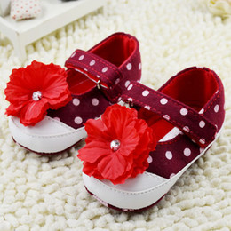 Wholesale Autumn Baby Girl Flower Shoes Wave Point Big Flower Toddler First Walker Shoes Infant Foot Wear Blue And Red pair WD202