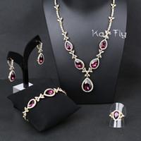 Cheap Crystal 18K WGP Blue CZ Earrings Bracelet Necklace Set Ring SIZE 7 8 9