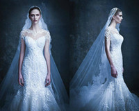 Wholesale Michael Cinco Lace Mermaid Wedding Dresses Cap Sleeve Luxury Back Embroidery White Muslim Wedding Dress Cathedral Train Bridal Gown