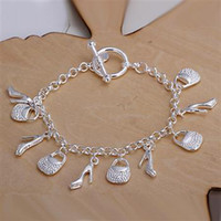 bags love shoes - Fashion jewelry Silver Chain Bags and Shoes Pendants Bracelet Hot Sale Jewelry