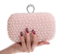 fashion clutch bags - New arrival luxary diamond pearl day evening bags rhinestone crystal clutch bridal bag fashion wedding party bags