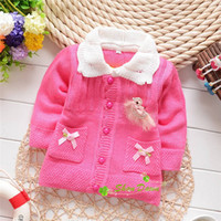 Cheap Winter and Autumn Baby Girls Chest standard duck two pockets Cute Sweater Cardigans,Children Fashion Sweater Coat,V1213B